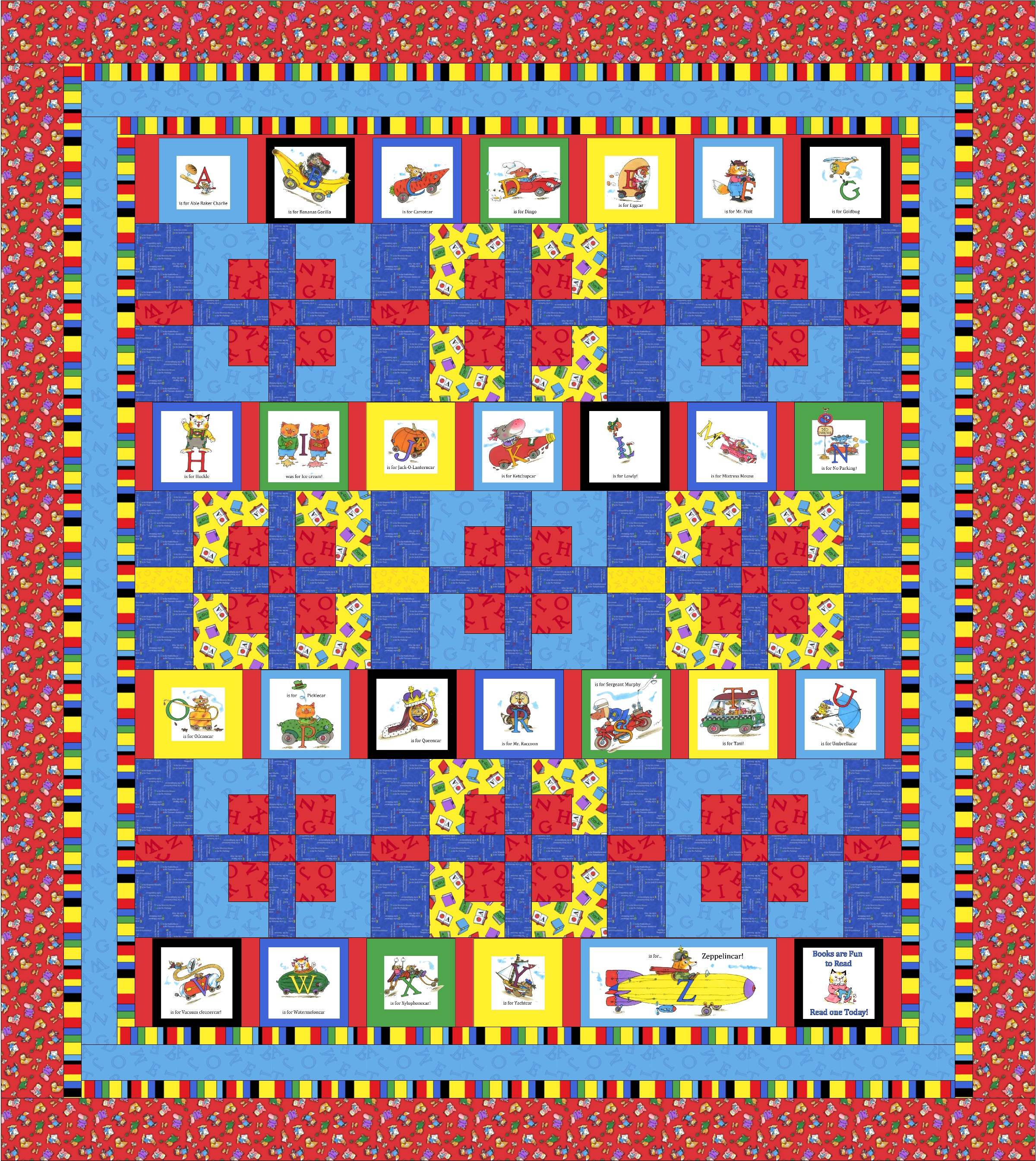 Free pattern richard scarry busytown a to z child s quilt for Kids pattern fabric