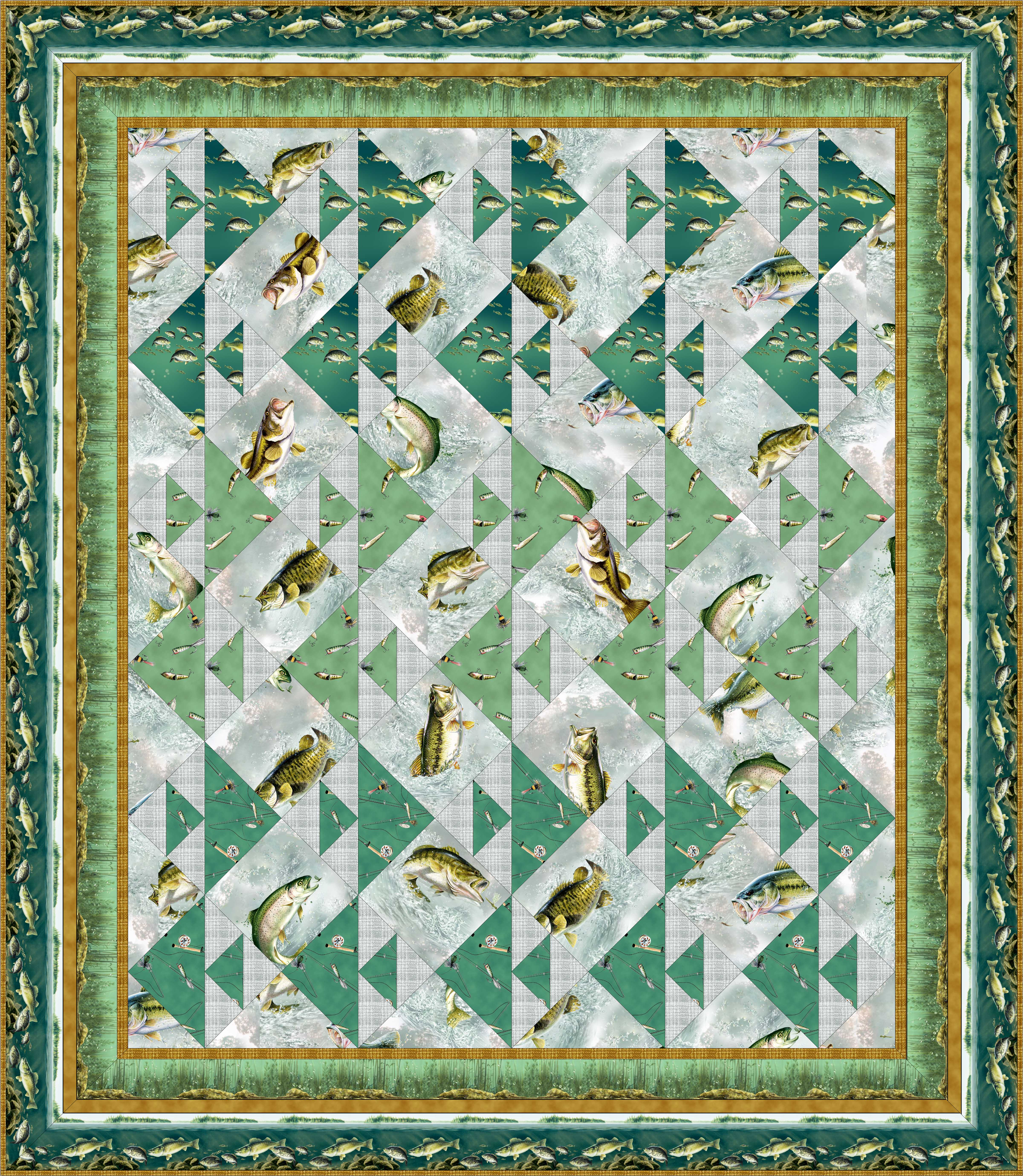 Free Quilt Patterns For Throws : FREE PATTERN: Rod and Reel Throw Quilt Ivory Spring