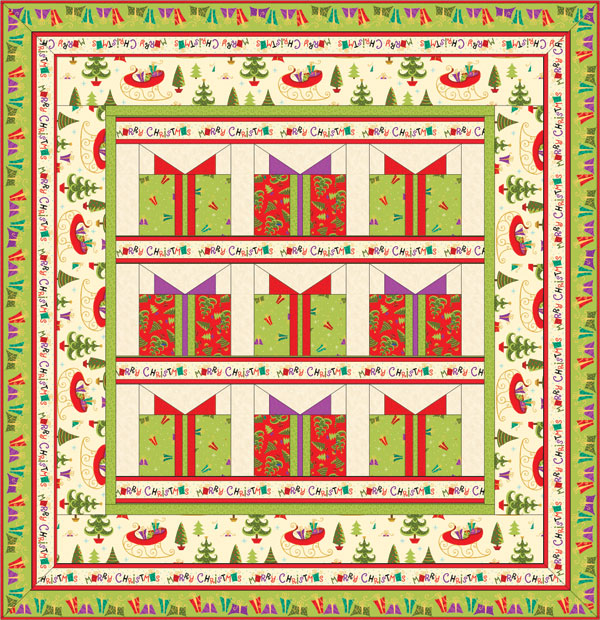 by quilting treasures it is a prezzie sort of quilt Christmas Quilt Patterns Free Download