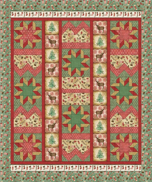 Free Quilt Patterns For Throws : FREE PATTERN: Homespun Holidays Throw and Pillows Ivory Spring