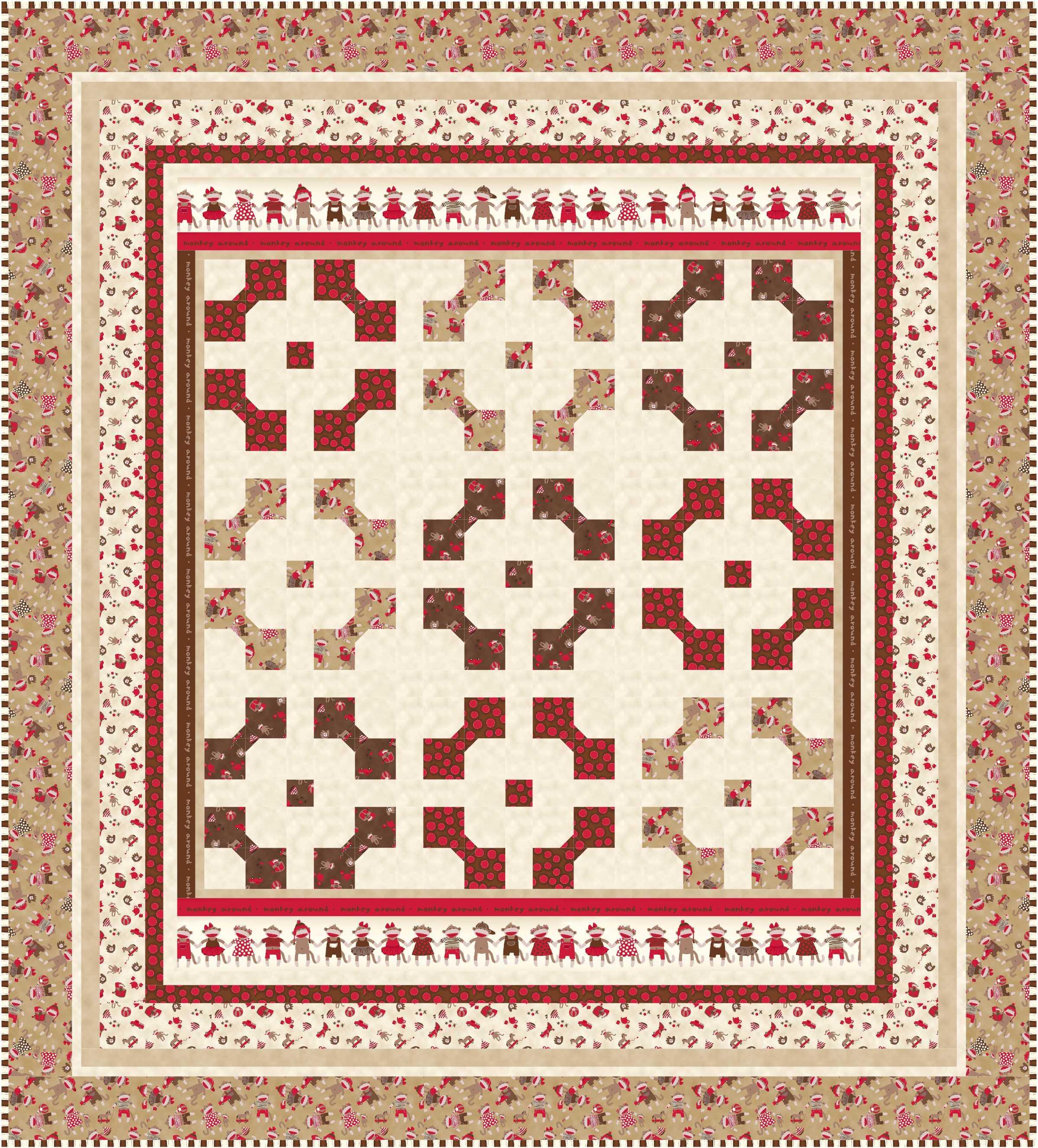 Baby crib quilt patterns free - Monkey Around Redo4a