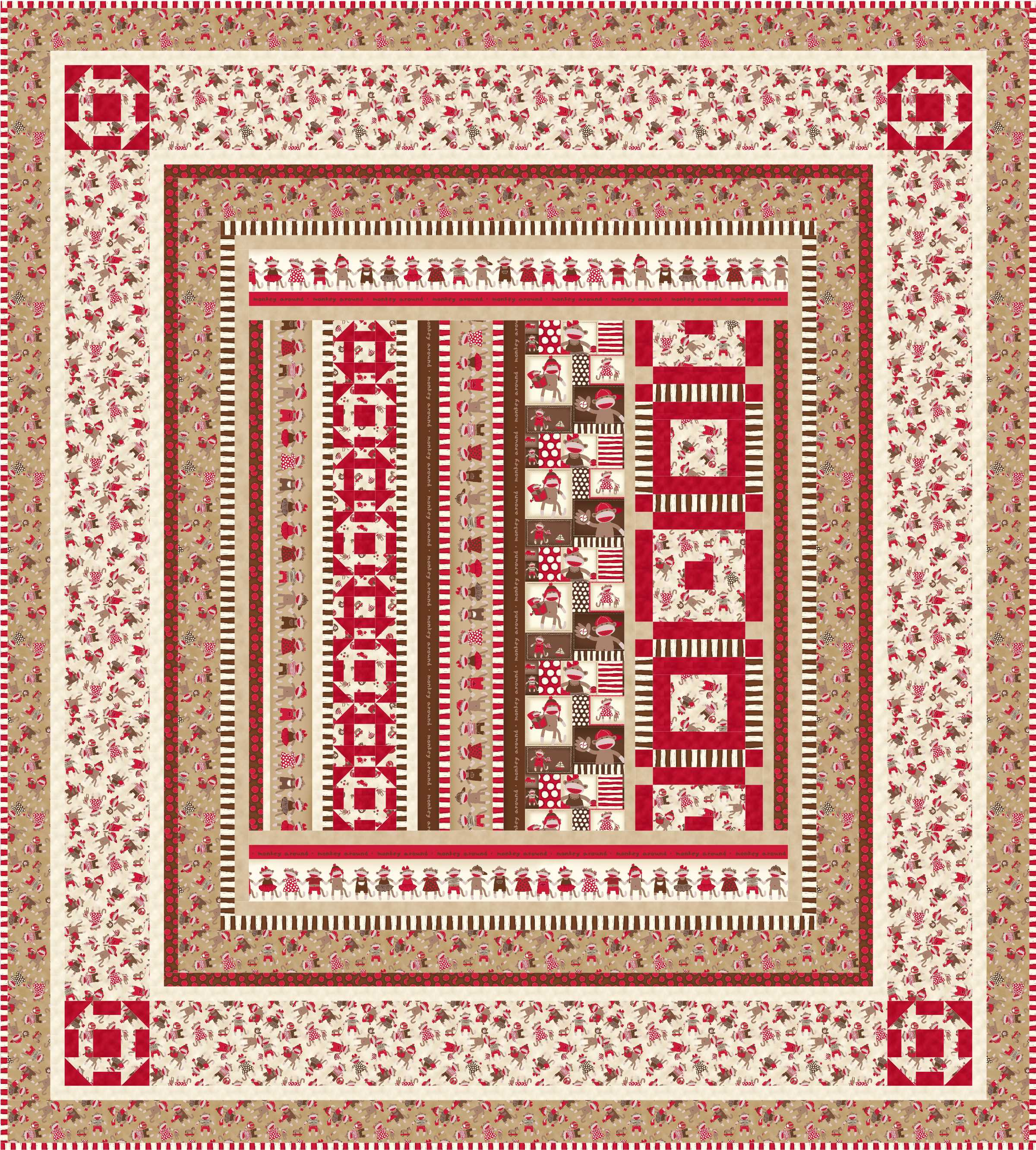 Baby crib quilt patterns free - Monkey Around1