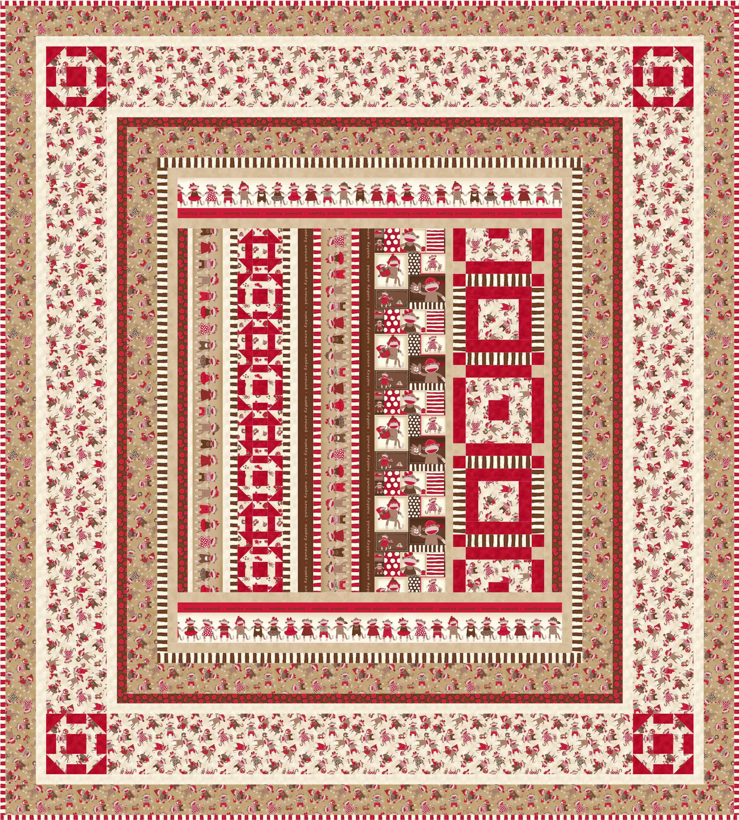 Sock monkey quilt patterns ivory spring monkey around1 bankloansurffo Images