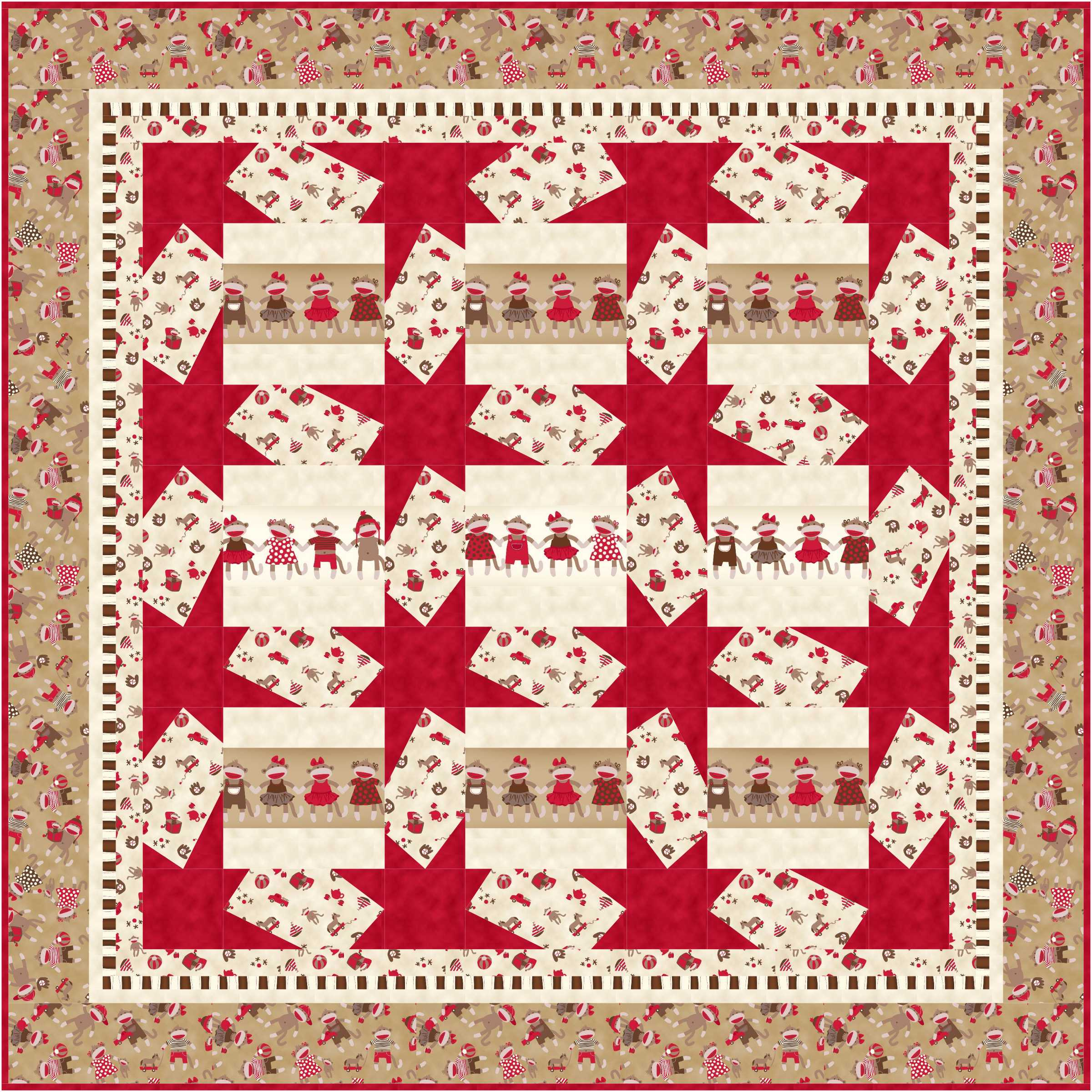 Baby crib quilt patterns free - I Am Most Happy To Share With You Bethany Shackleford Has Designed A Sequel To Her Last Sock Monkey Fabric Collection Meet The Zoe Zack Quilts I Have