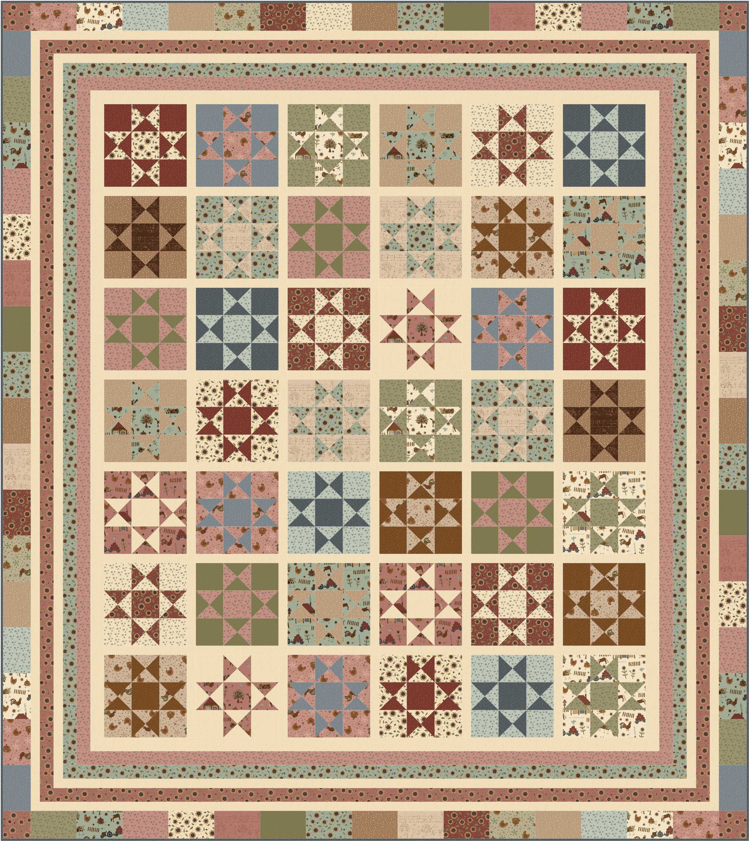 Free Pattern Country Stars Ivory Spring