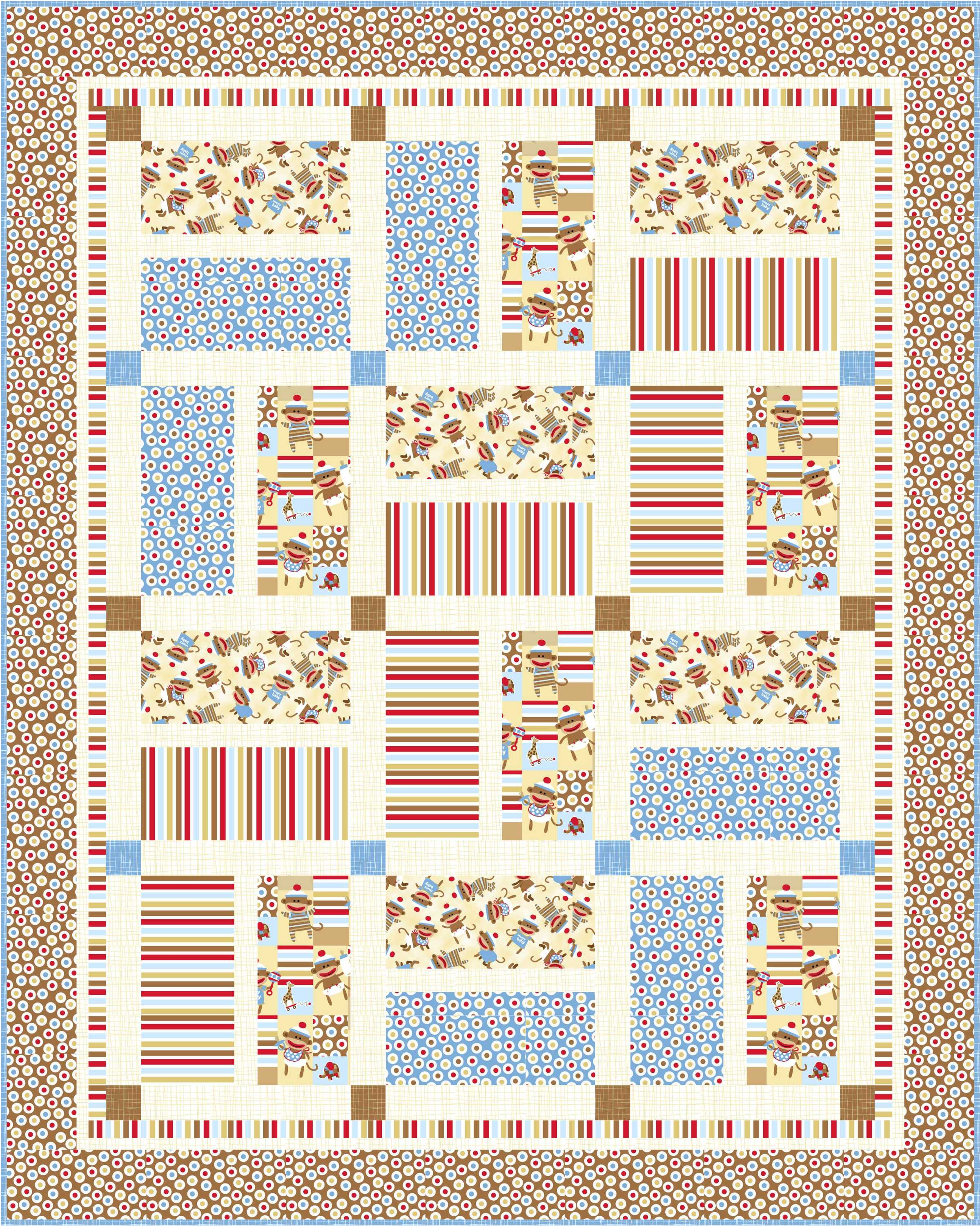 free pattern zoe  zack baby crib quilts (more sock monkeys  - crib quilt bluehigh res with binding