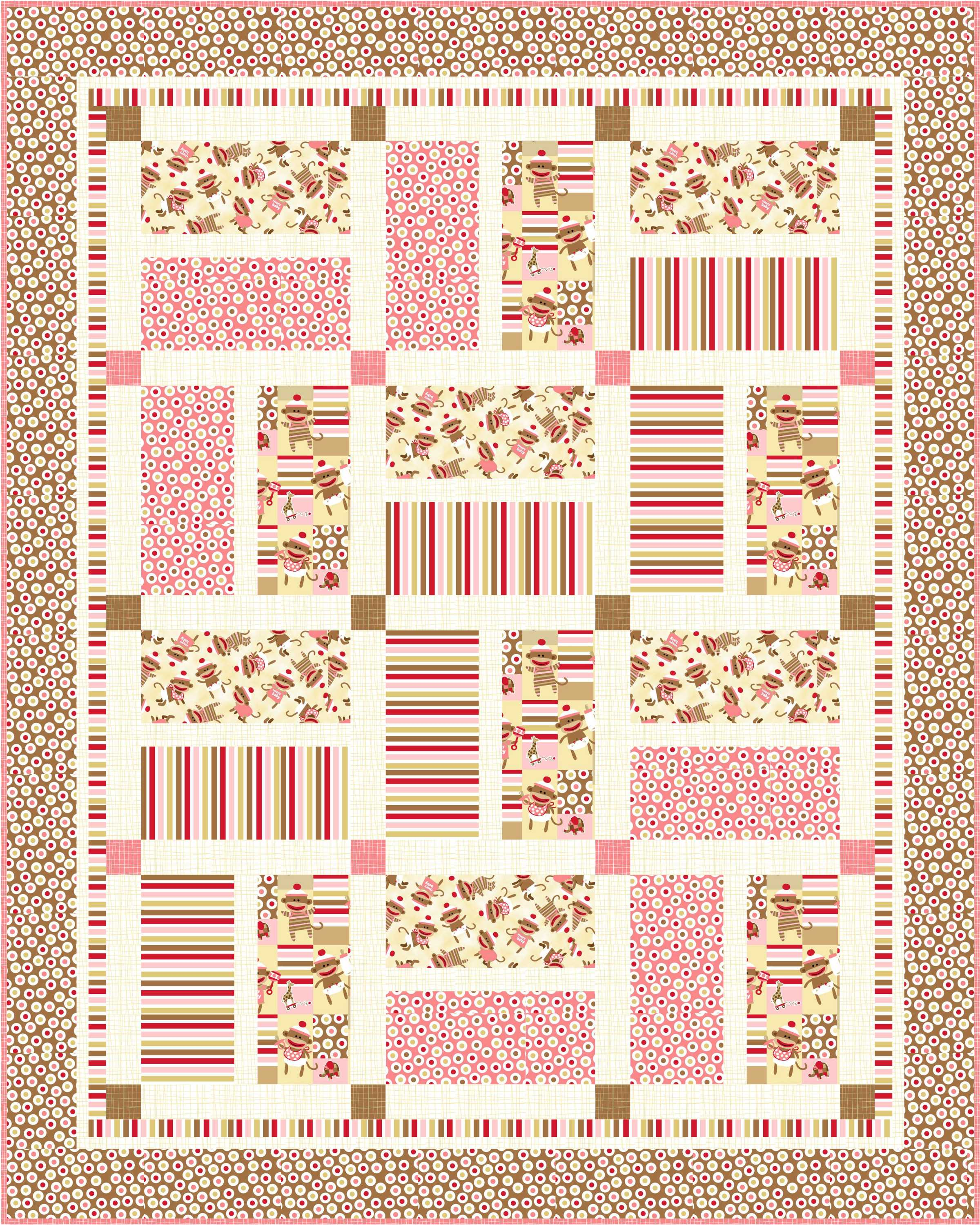 Free baby bed quilt patterns - Crib Quilt Pink_high Res With Binding