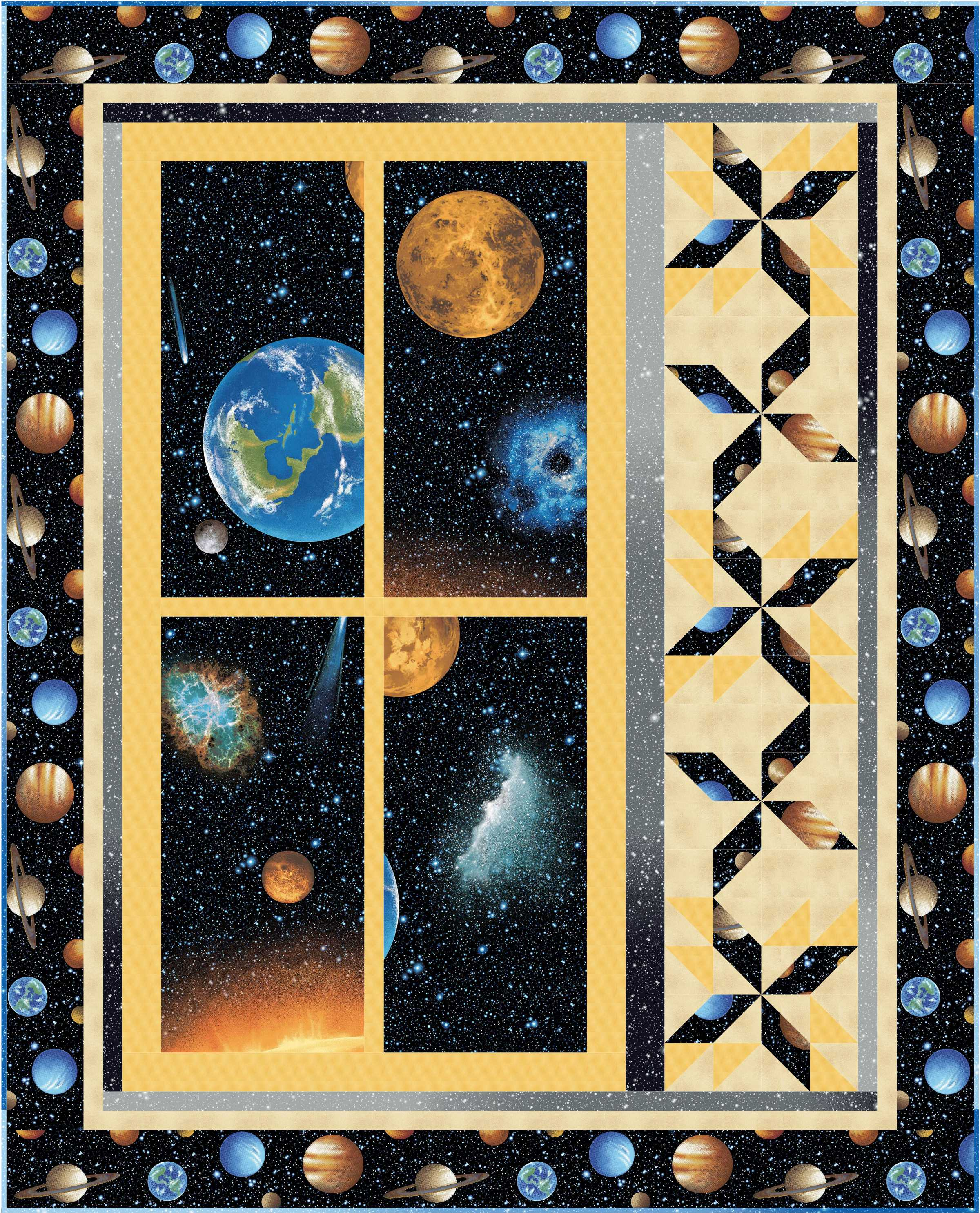 Free patterns to eternity and beyond space odyssey for Space fabric quilt