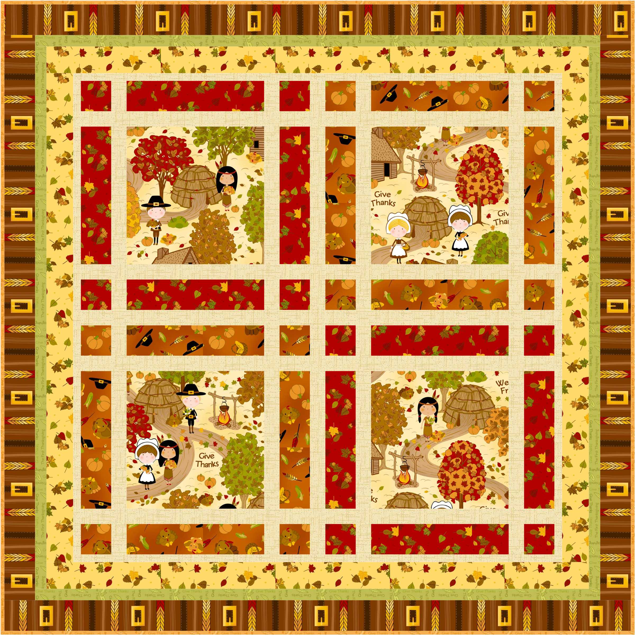 FREE PATTERN: The First Thanksgiving Wallhanging, Runner & Placemats ...
