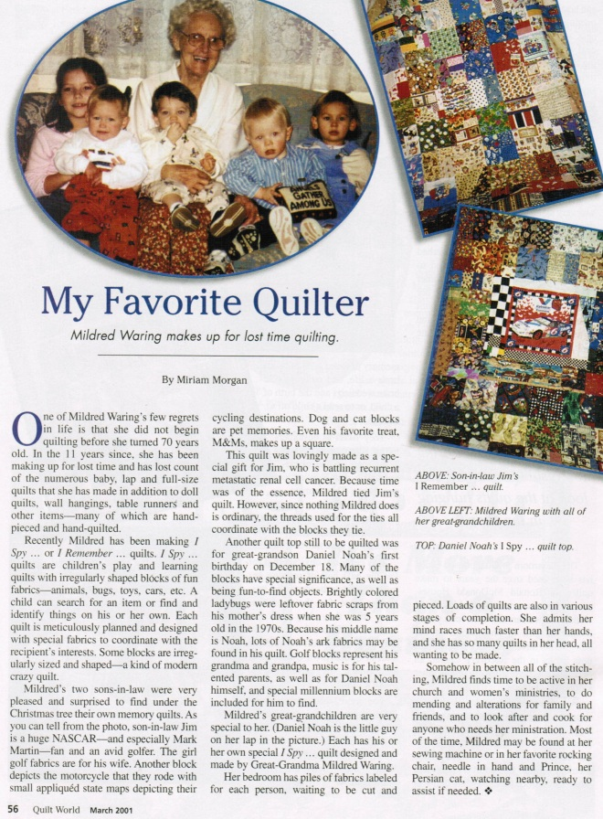 Quilt World article Mom